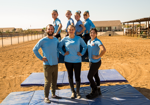 Vaulting team picture at barrel